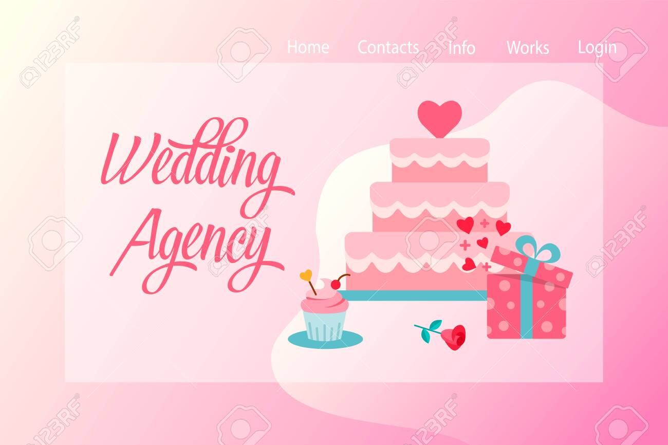 Wedding Agency Web Banner With Wedding Cake And Gift On A Background Royalty Free Cliparts Vectors And Stock Illustration Image 128071553