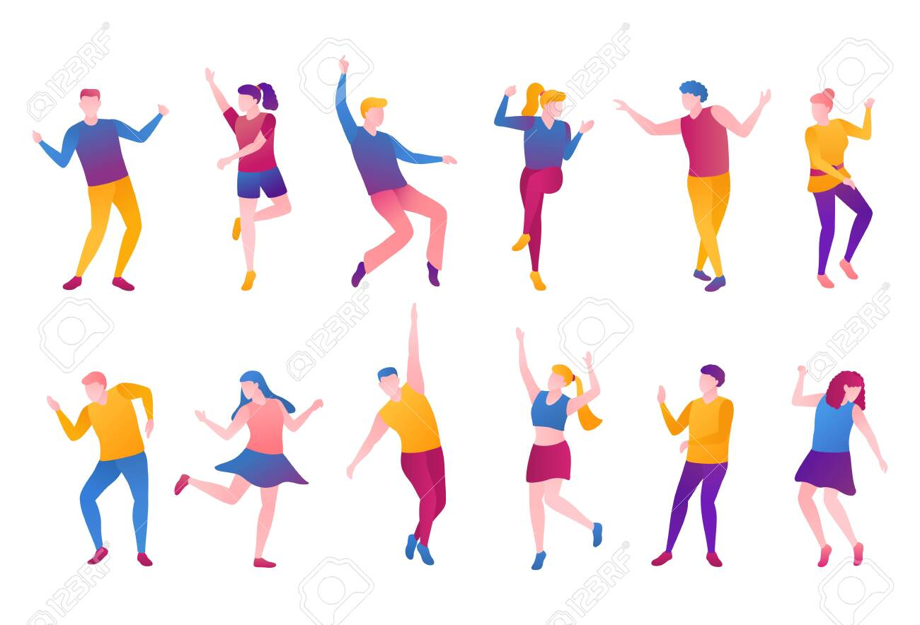 People nightlife set, flat vector illustration. Adult man boys and girls clubbers in bright clothes movement at party. A group of men and women is dancing and moves on an isolated white background. - 141349747