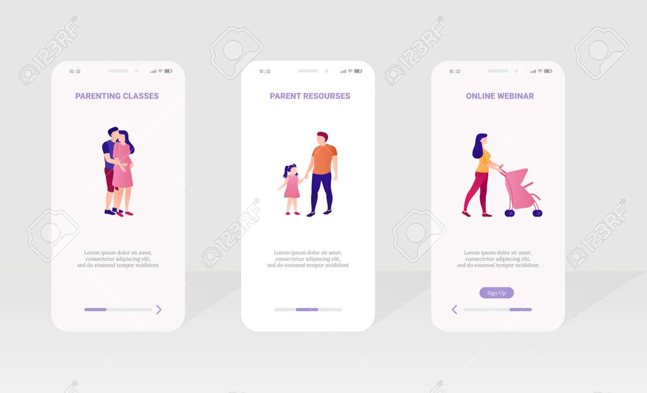 Parenting class, webinar onboard screen design set - 168346690