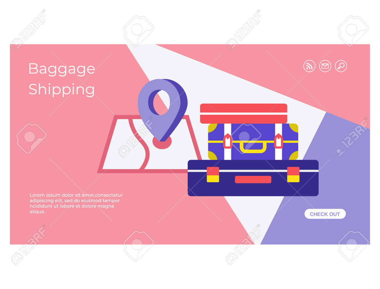 Luggage delivery service mobile app page design - 168346697