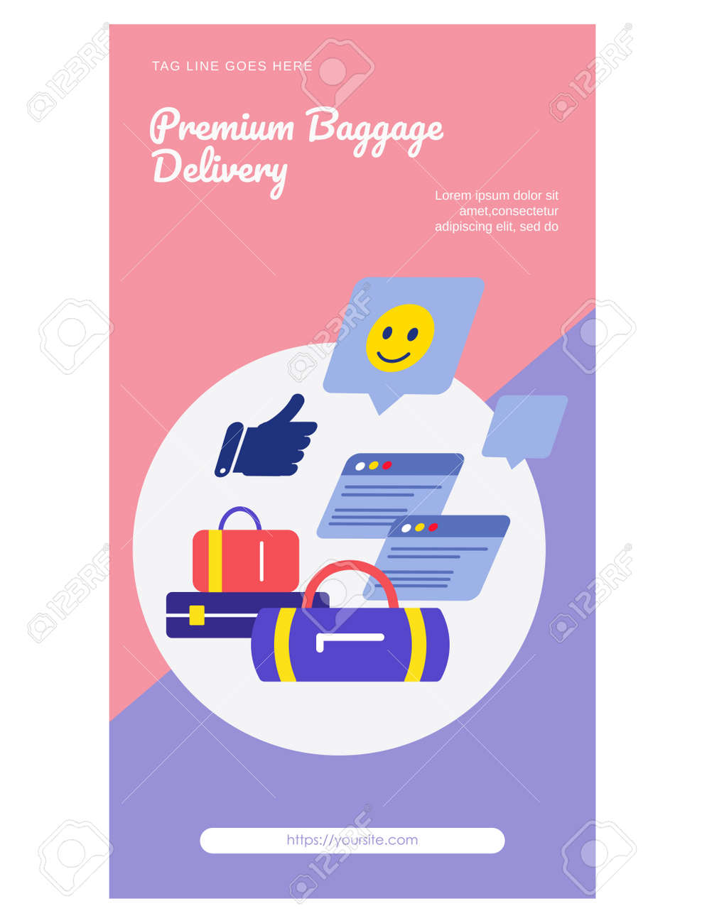 Fast worldwide delivery web page flat design - 168346695