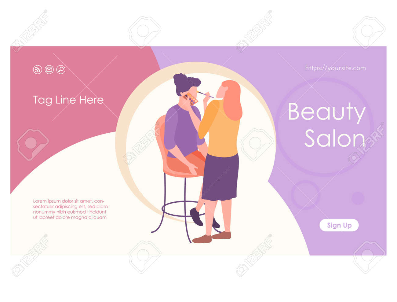 Woman stylist putting makeup to girl web page - 168346698