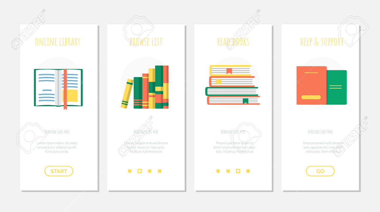 Set of online book library onboard screen template - 168346711