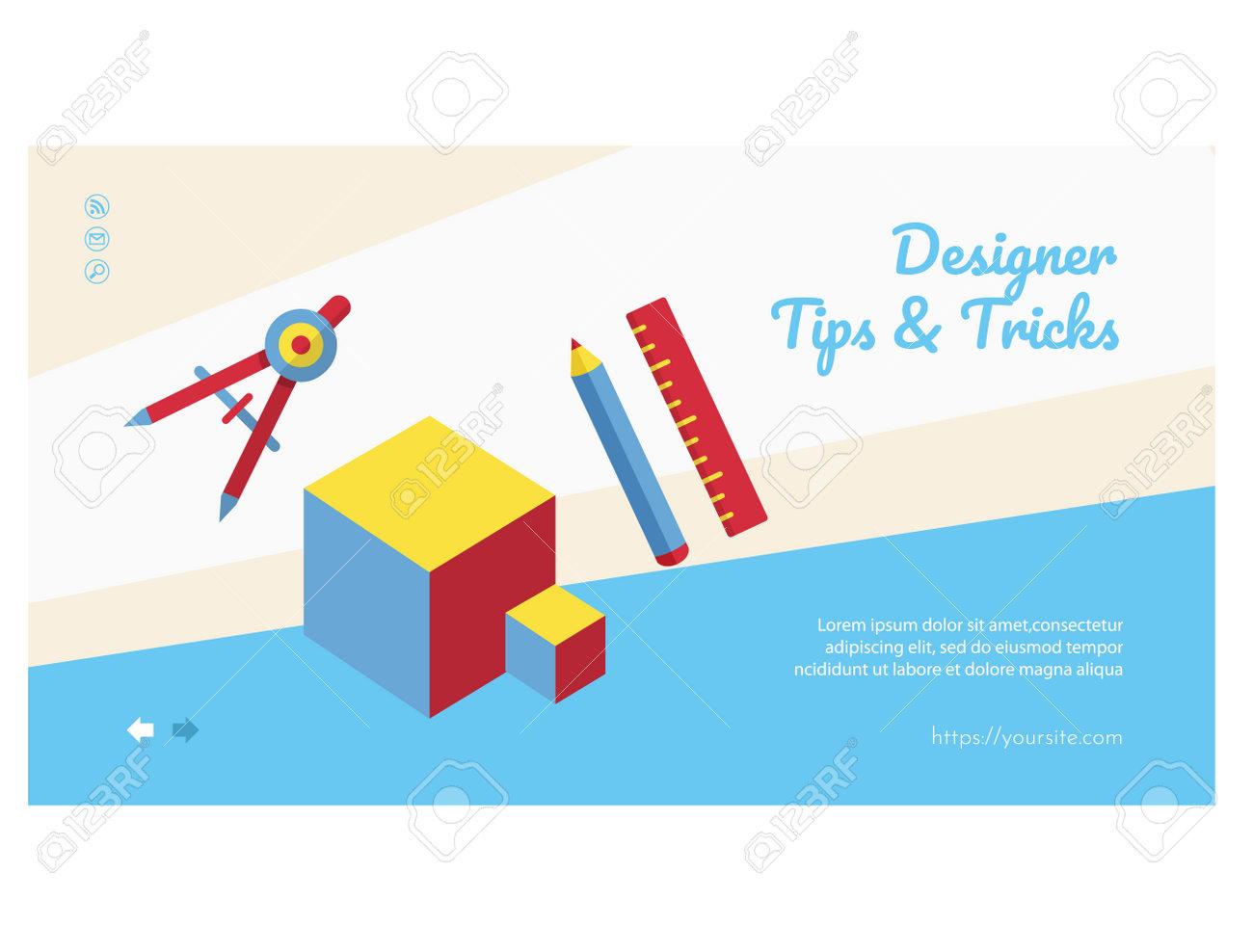 Designer tips and tricks web banner, landing page - 168346709