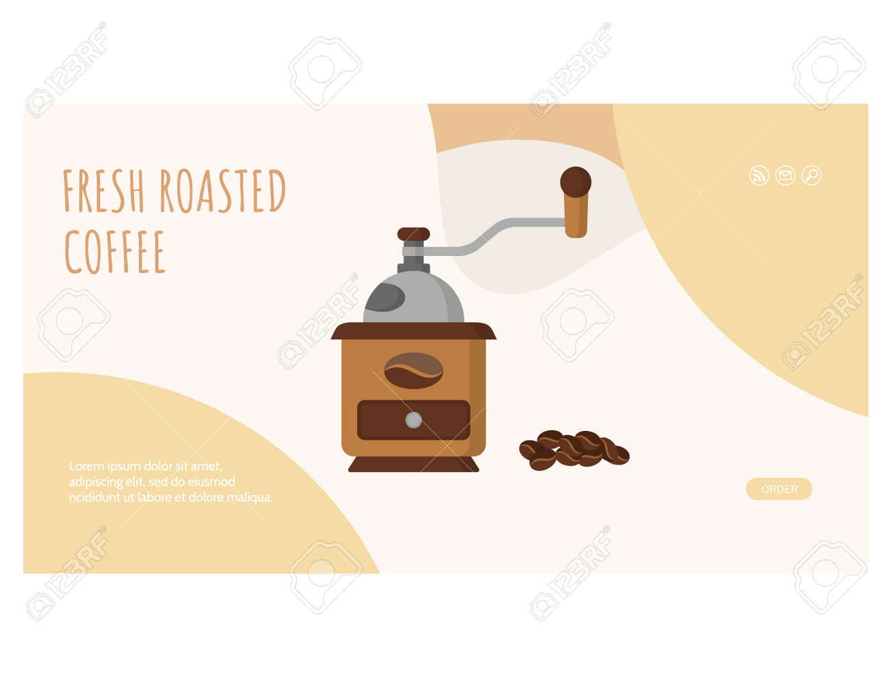 Fresh roasted coffee web page flat design template - 168346712