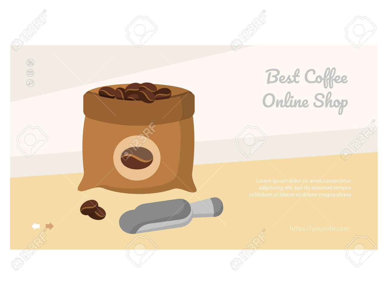 Delicious Coffee web page with geyser coffee maker - 168346714