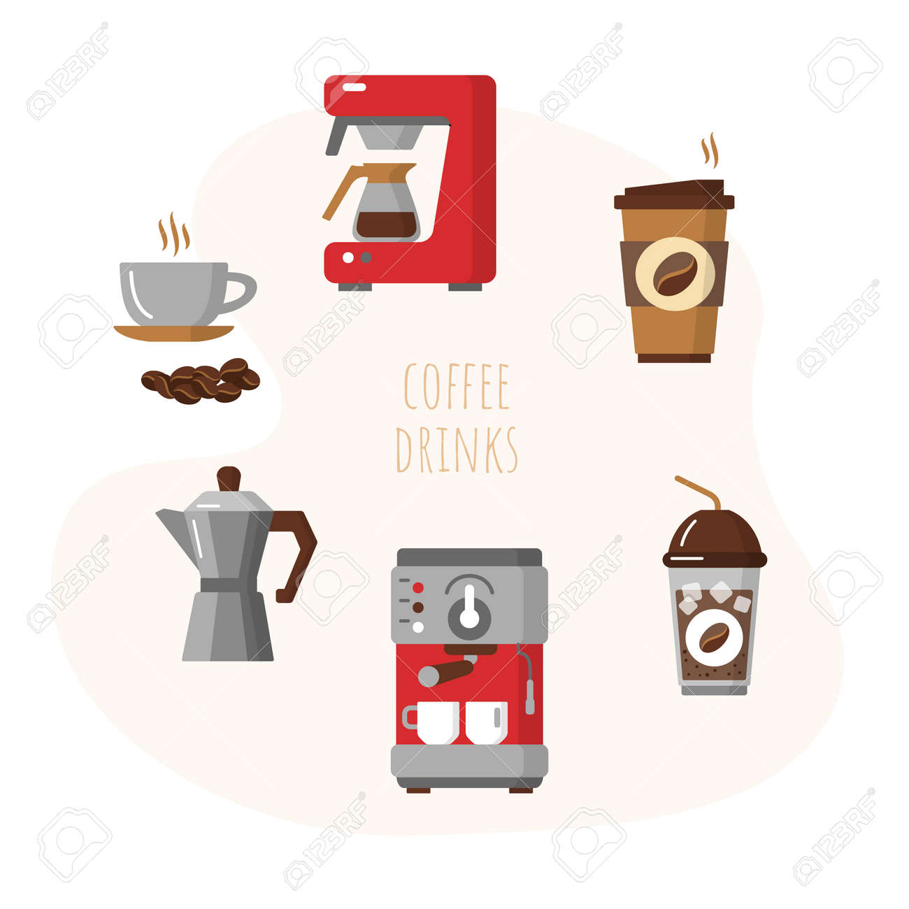 Best coffee set with cups of hot aroma drink - 169164779