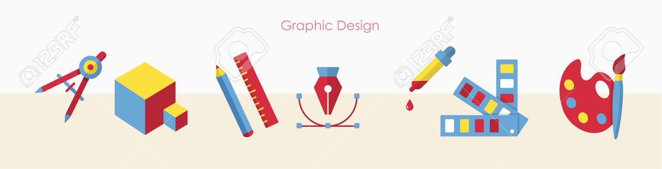 Designer tools or art education signs banner set - 169164803