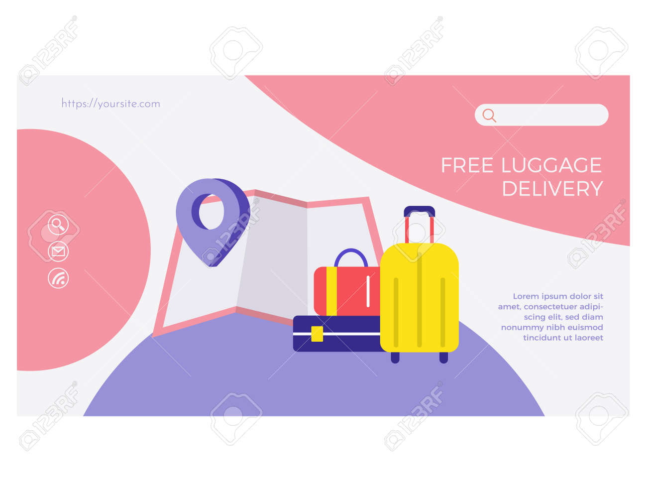 Fast worldwide delivery web page flat design - 169165437