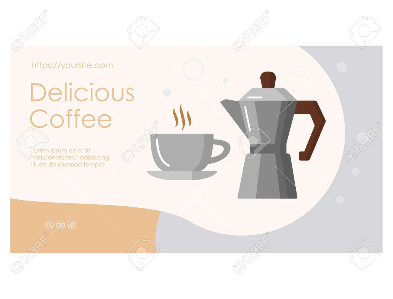 Delicious Coffee web page with geyser coffee maker - 170260491