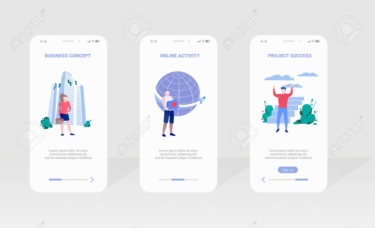 Business concept project success onboard page set - 169950962