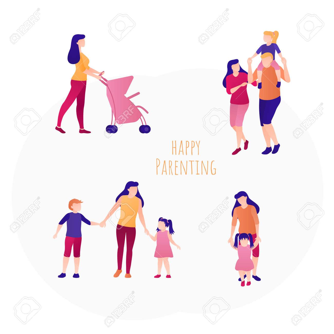 Happy parenting concept banner flat design set - 170260494