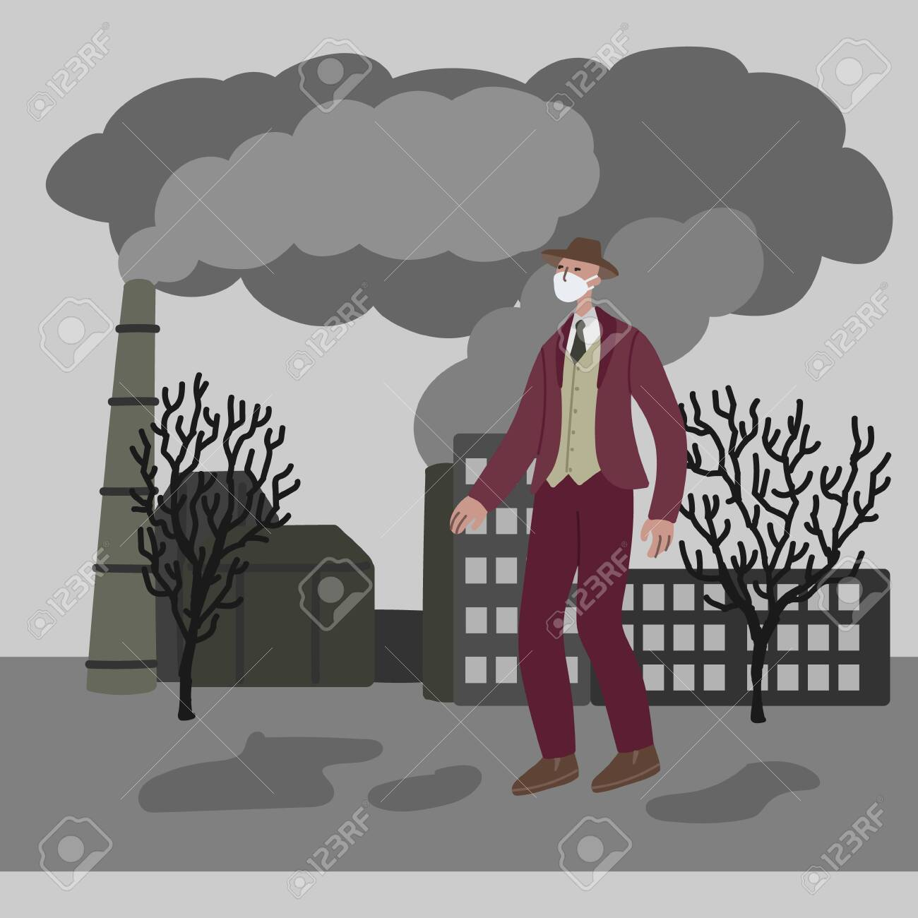 Vector hand drawn illustration with men in mask. Man wearing mask against smog. City landscape chimneys emit smoke harmful emissions polluted air poor ecology in the city. Air pollution concept - 133322071