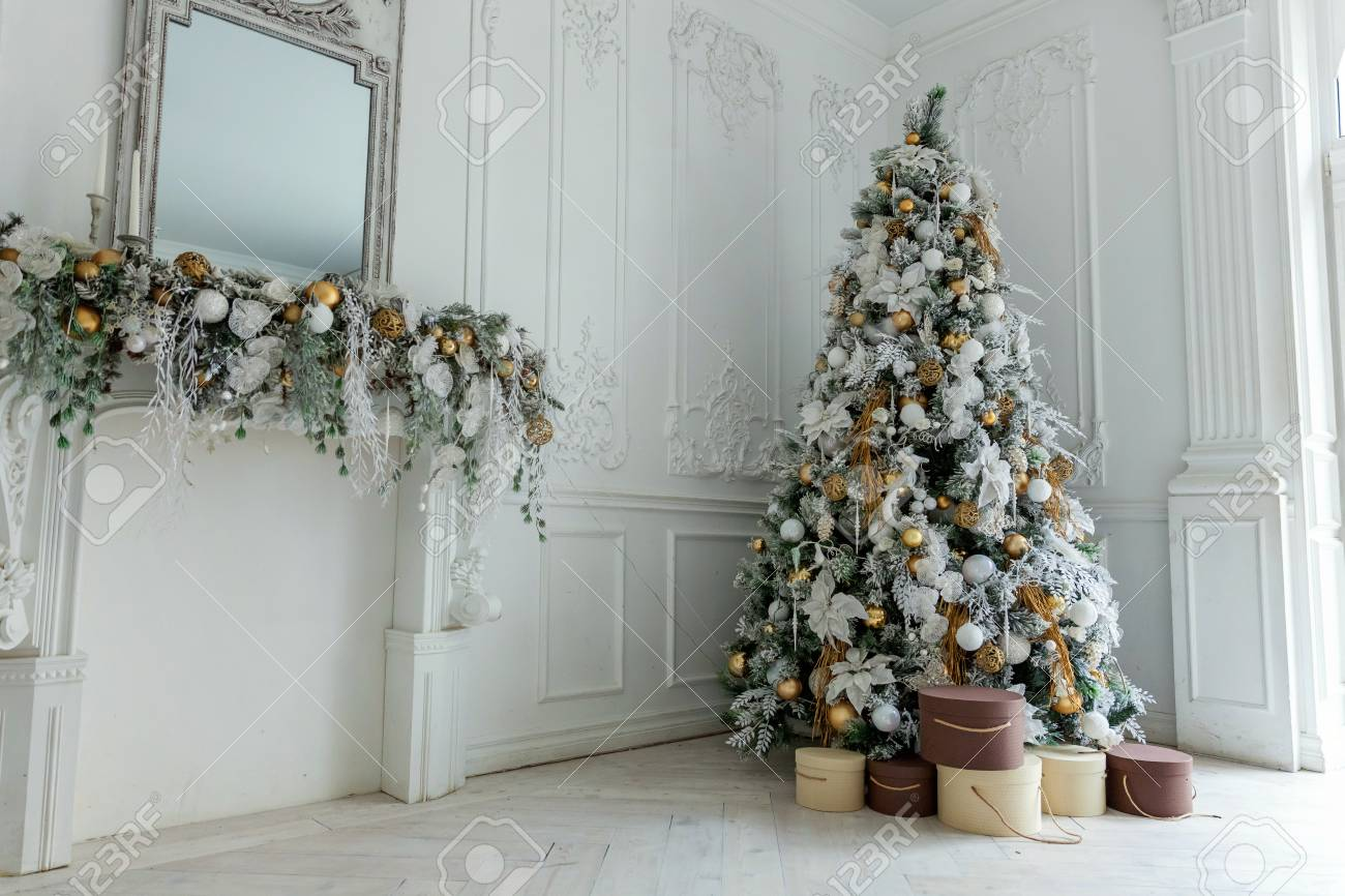 christmas tree with white and gold decorations stock photo 89315568