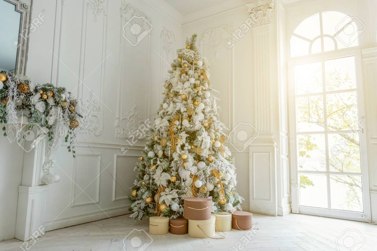 classic christmas new year decorated interior room new year tree stock photo picture and royalty free image image 123088352 classic christmas new year decorated interior room new year tree