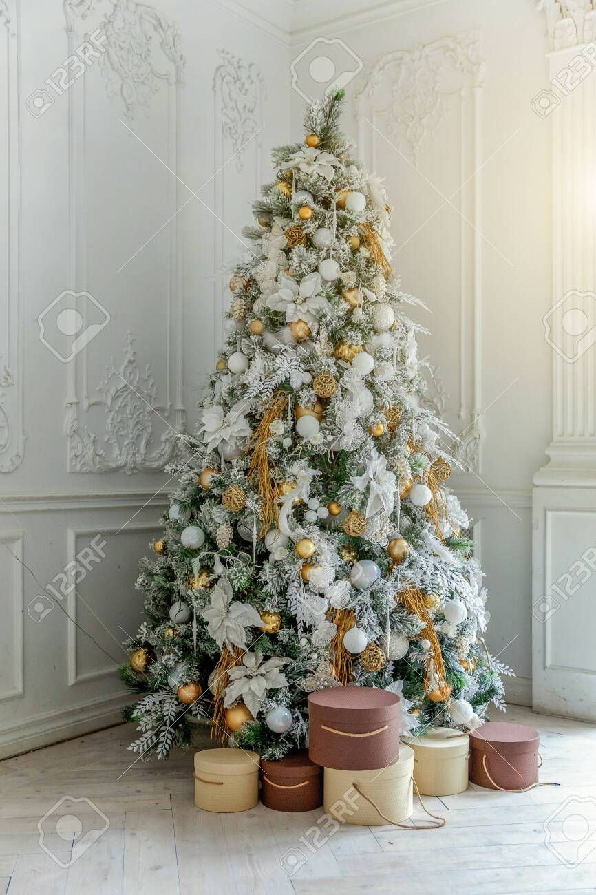 classic christmas new year decorated interior room new year tree stock photo picture and royalty free image image 123086053 classic christmas new year decorated interior room new year tree