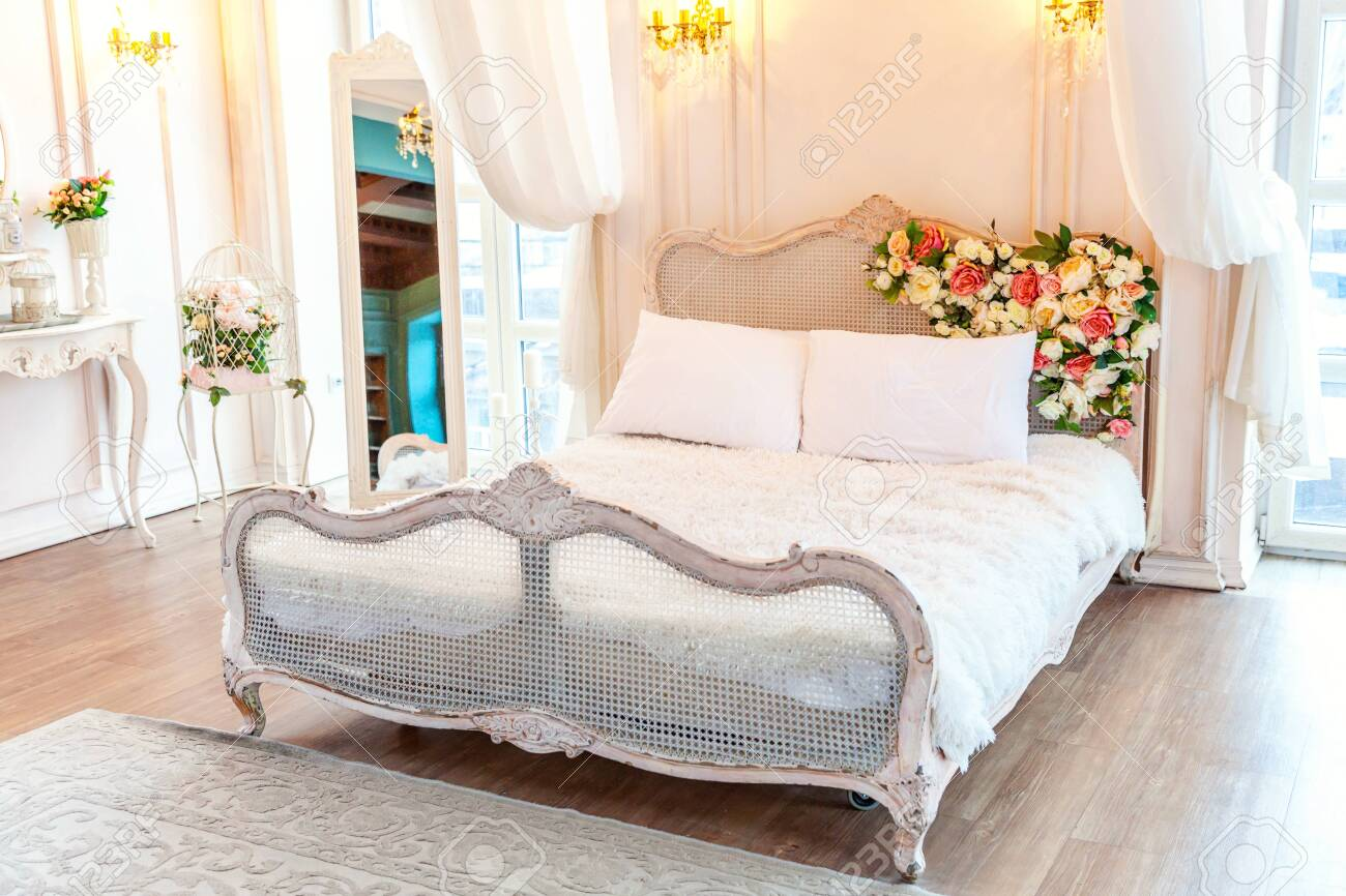 Picture of: Beautiful Luxury Classic White Bright Clean Interior Bedroom Stock Photo Picture And Royalty Free Image Image 134498893