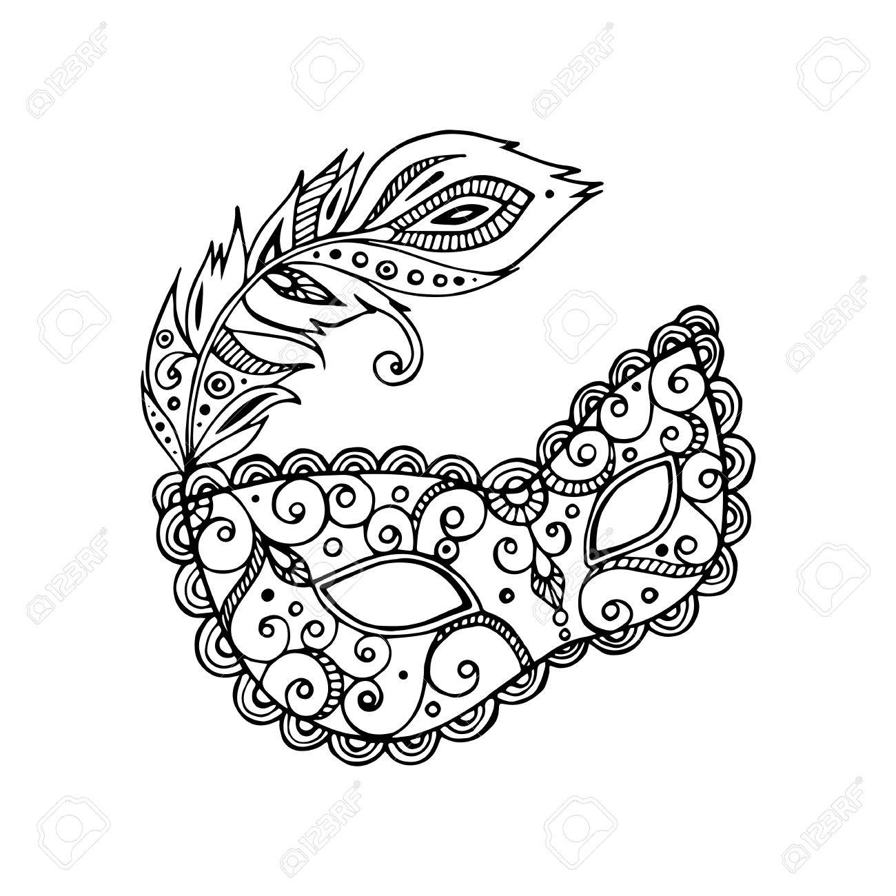 Black Beautiful Ornate Carnival Mardi Gras Mask, Hand Drawn Vector ...