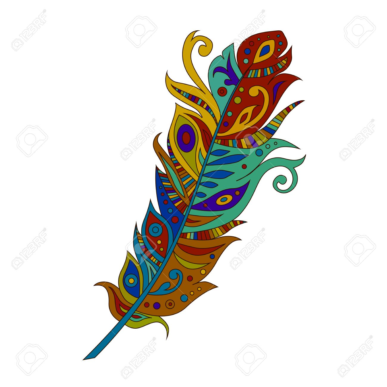 bright colored bohemian boho bird feather isolated on white rh 123rf com