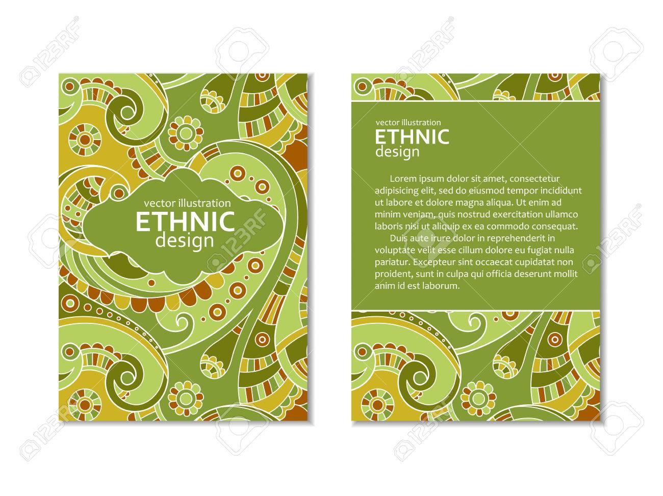 Ethnic Card Template, Beautiful Ornate, Paisley Motif Business ...