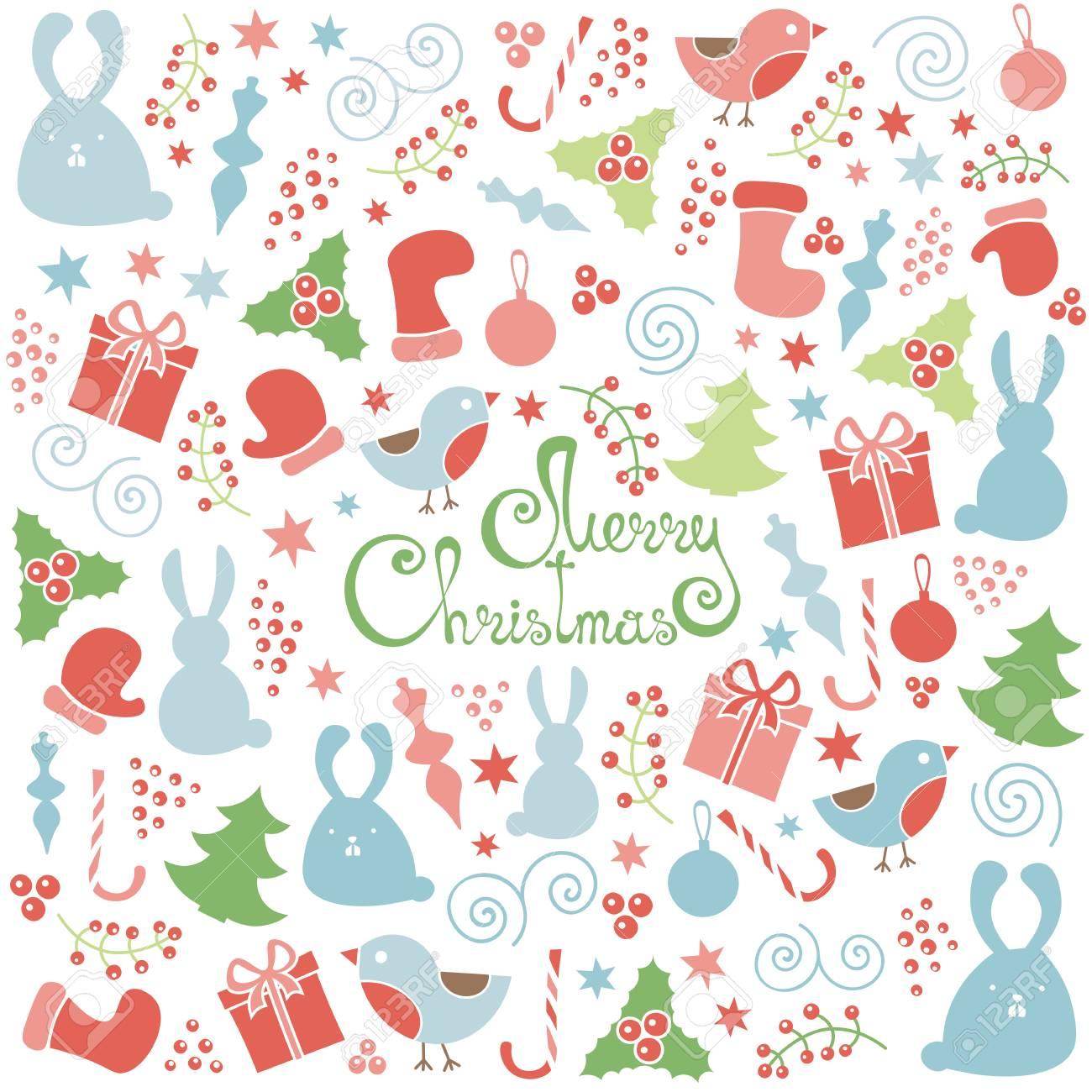Doodle De Elementos De Diseño De Navidad Sin Patrón, Vector De Fondo ...