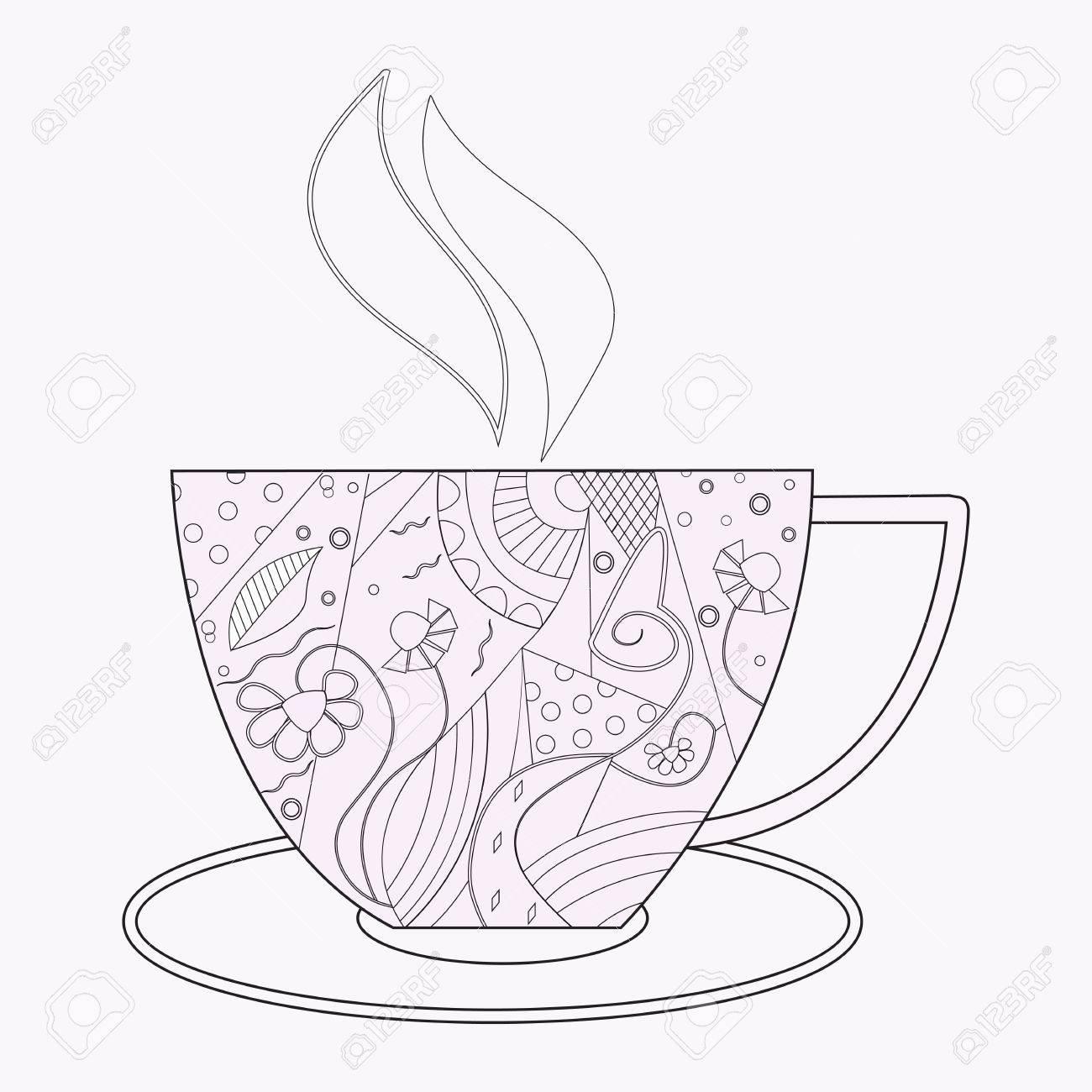 Café Del Vector O Una Taza De Té Con Los Ornamentos Abstractos Vector La Ilustración Para Un Libro Para Colorear