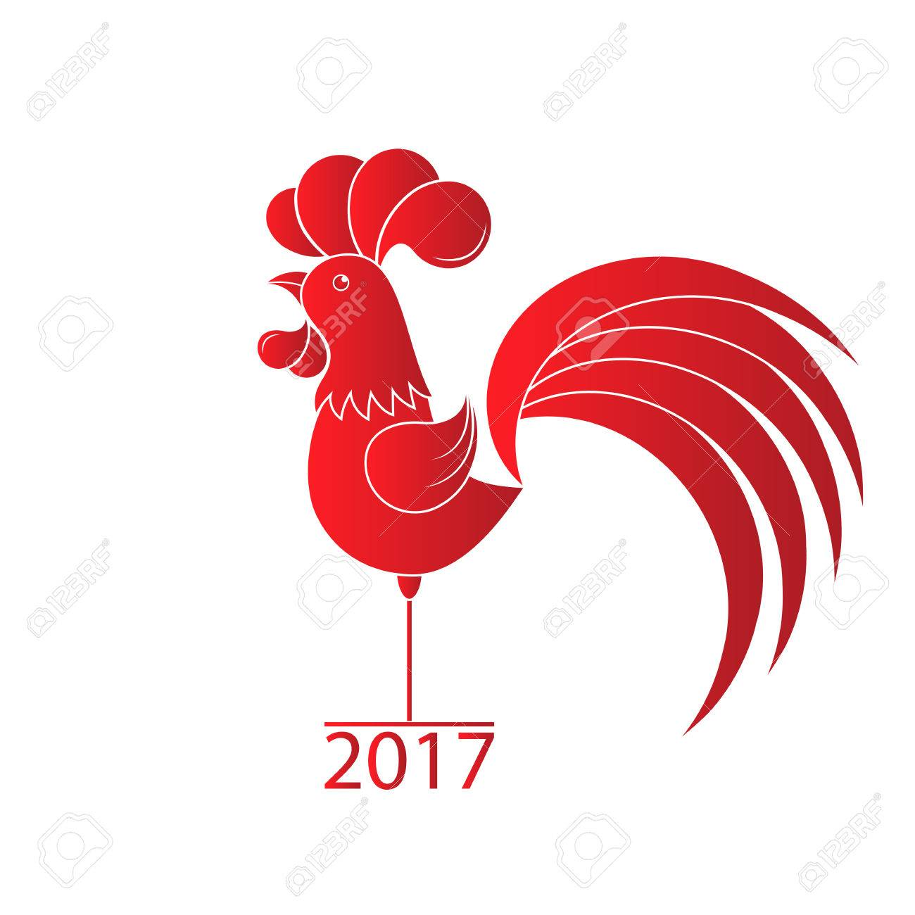 Year of the rooster 2017 chinese new year red cock on white greeting cards year of the rooster 2017 chinese new year red cock on white background kristyandbryce Gallery