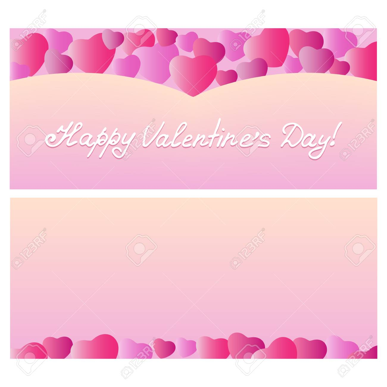 Design Greeting Card Valentines Day With Hearts Template For