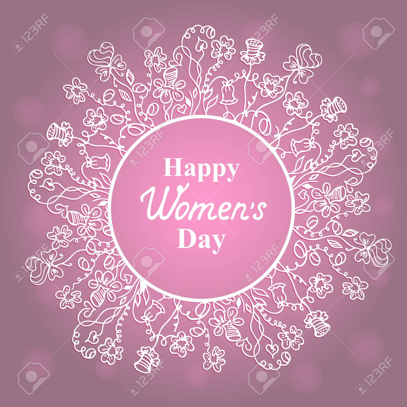 happy womens day. march 8. flower frame. concept design for a