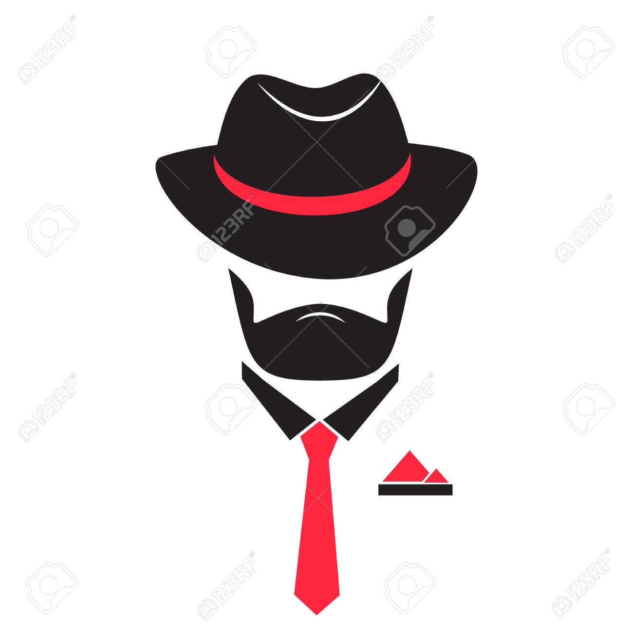 Unknown Man In A Hat And Tie With A Pocket Square Gentleman Royalty Free Cliparts Vectors And Stock Illustration Image 81564200