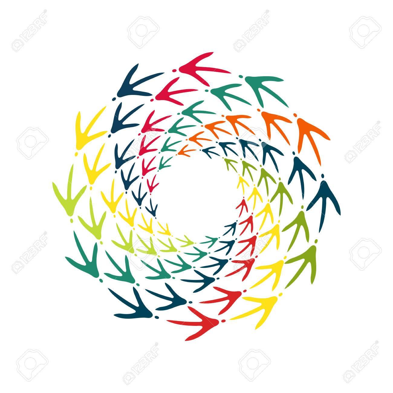 chicken bird s footprint spiral decorative design element frame