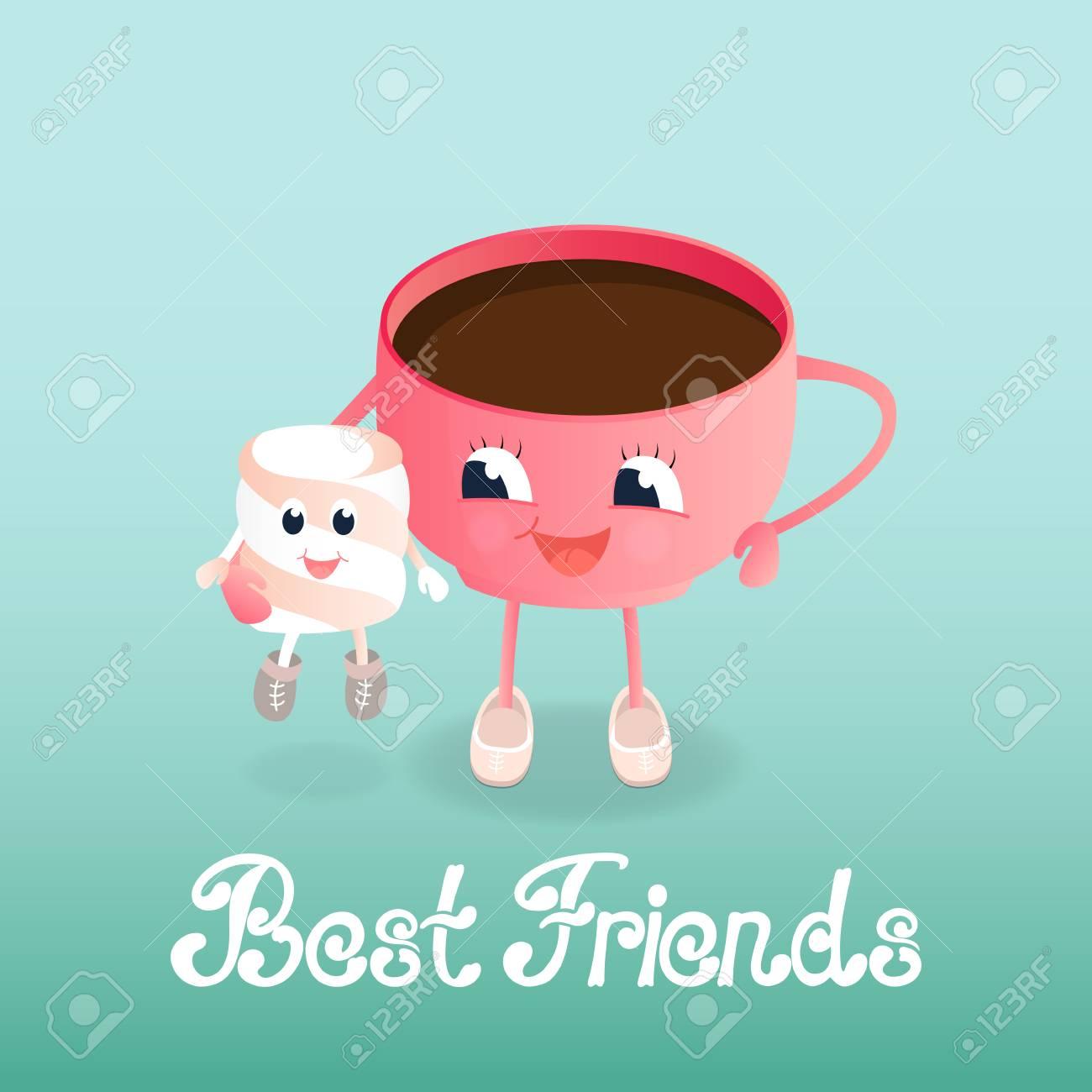 Una Divertida Taza De Café Tiene Una Caricatura De Malvavisco