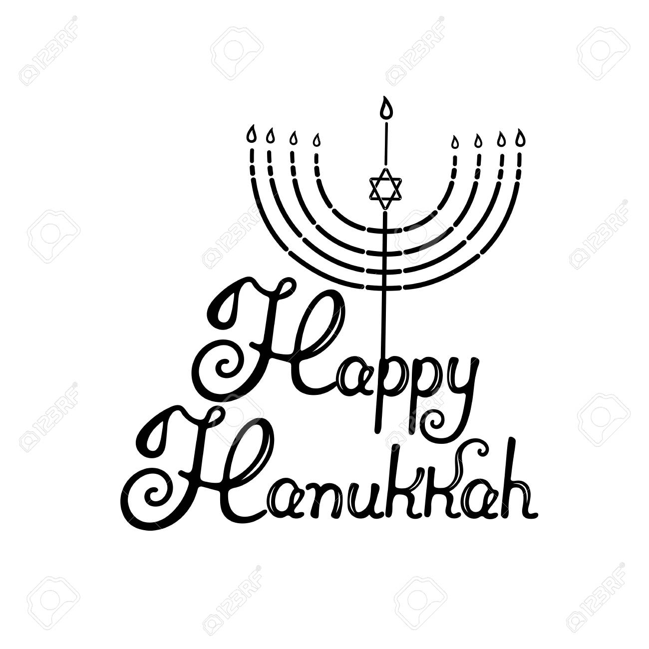 Happy Hanukkah Hand Lettering Menorah With The Star Of David Royalty Free Cliparts Vectors And Stock Illustration Image 90589096