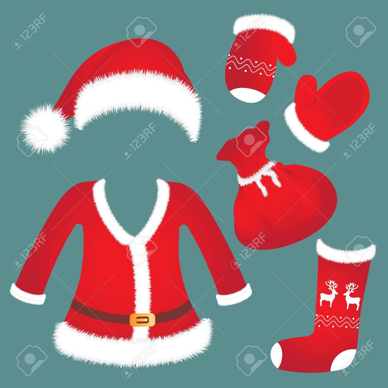 Sombrero de Santa, traje, mitones, bolsa de calcetines Accesorios de Año Nuevo