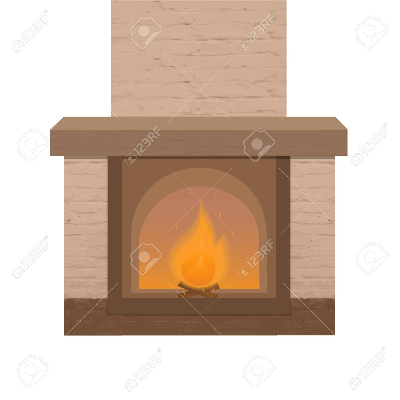 Brick Fireplace With A Burning Fire Royalty Free Cliparts Vectors