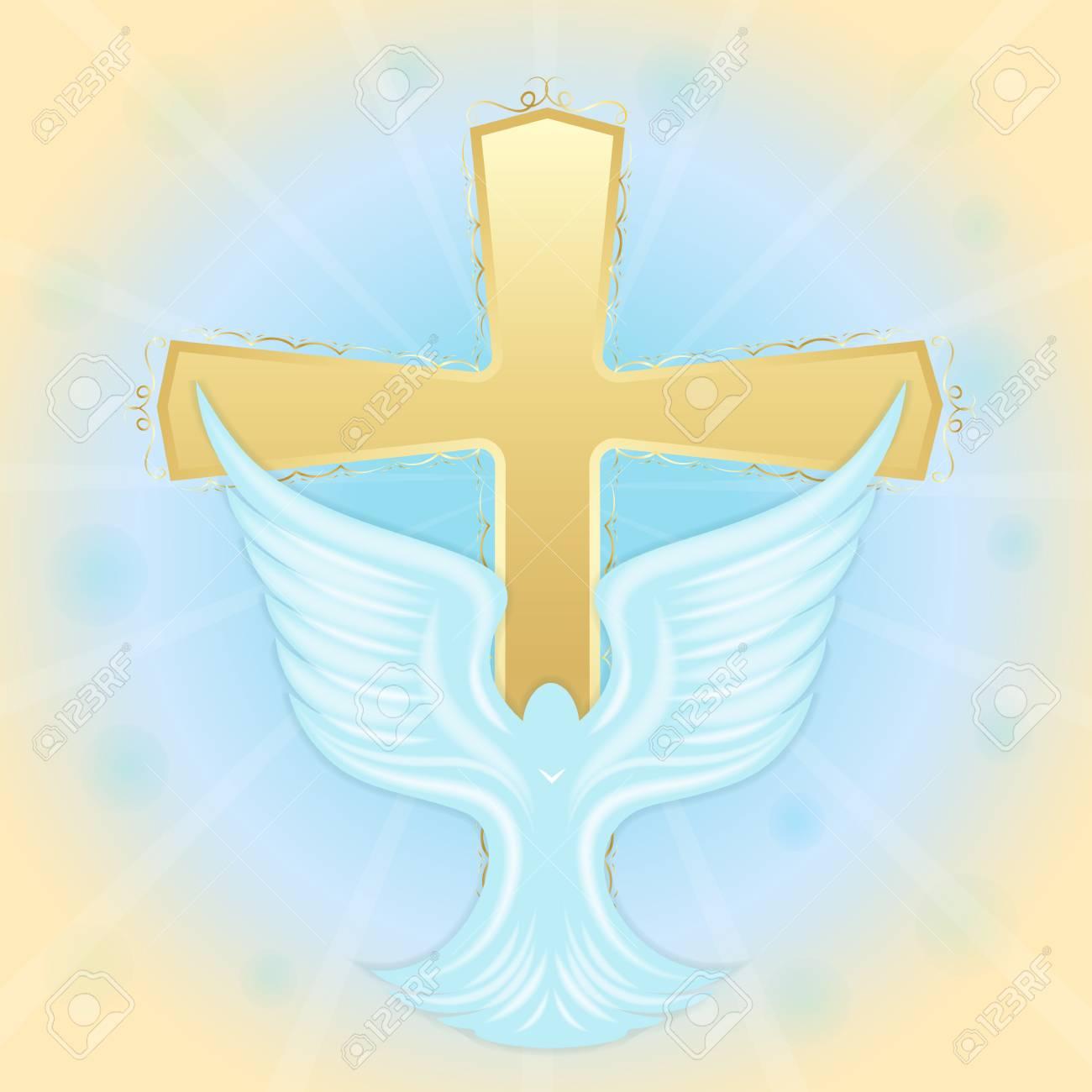 Vettoriale Battesimo Di Gesu Colomba In Cielo Sullo Sfondo Della