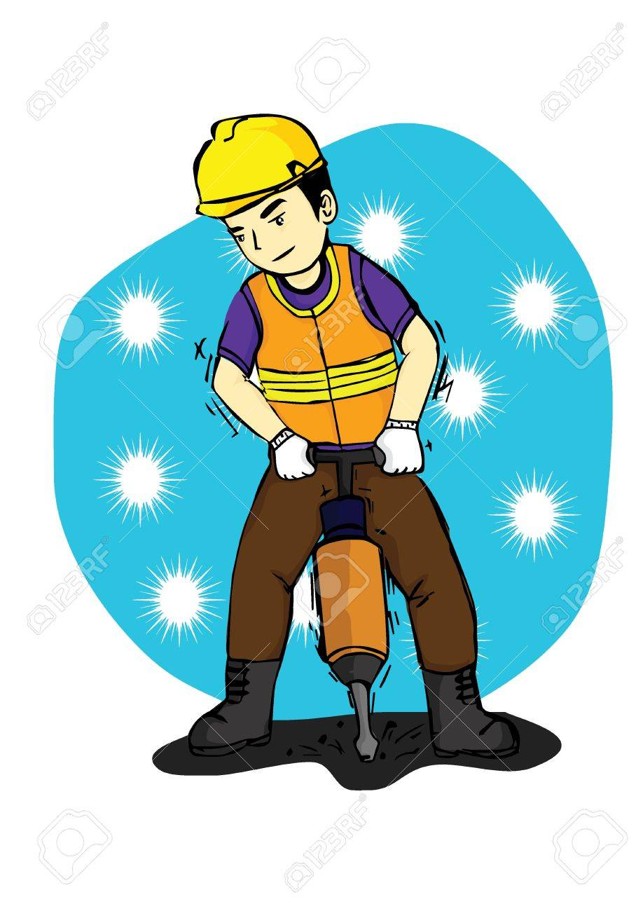 a man who worked in the construction field by using safety equipment Stock Vector - 23855091