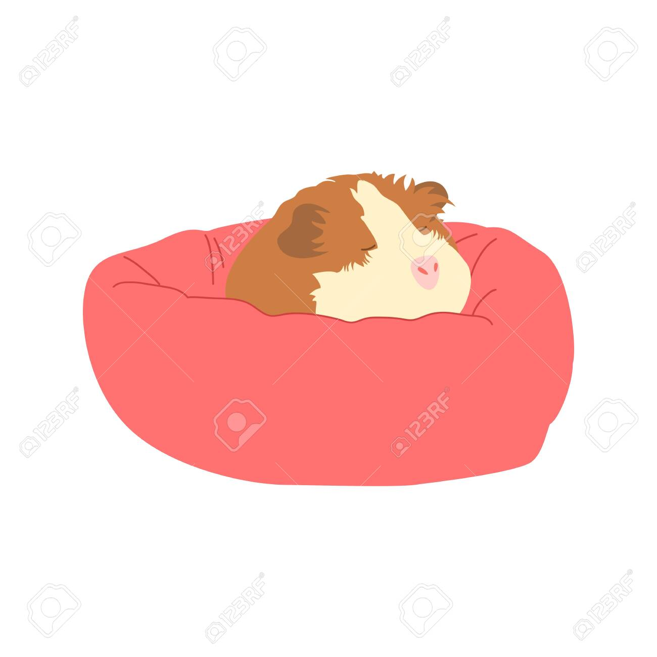 Picture of: Cute Mouse Sleeping On A Pink Bed Doodle Guinea Pig Sleeping Royalty Free Cliparts Vectors And Stock Illustration Image 140090932