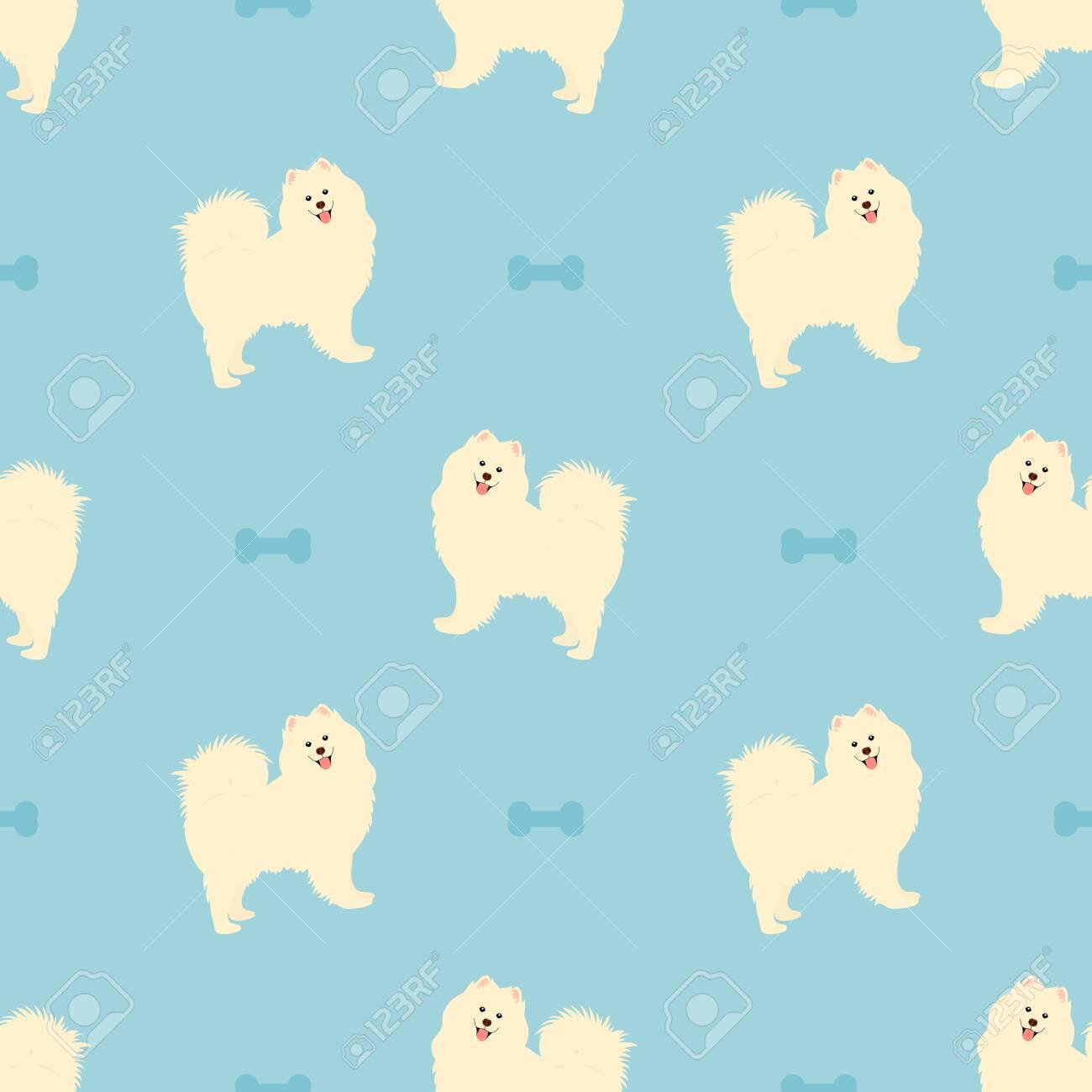 Samoyed Dog Seamless Pattern Background With Dog Bone Cartoon Royalty Free Cliparts Vectors And Stock Illustration Image 149183535
