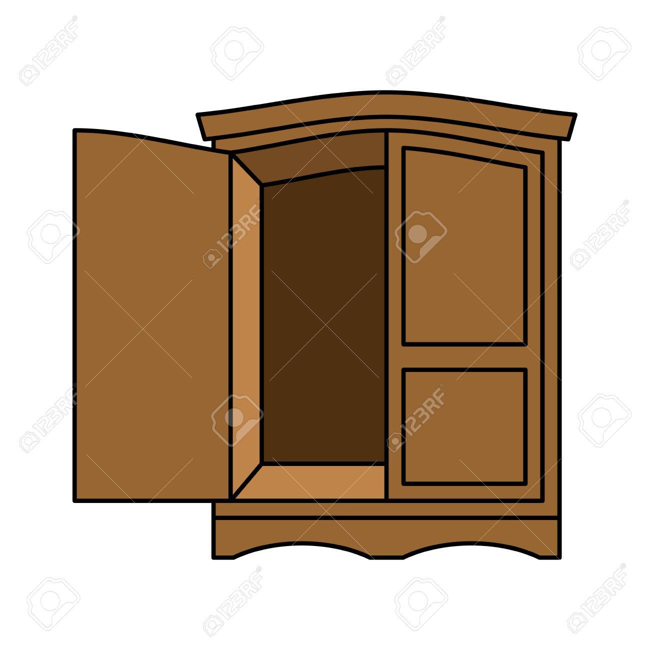 Wardrobe Wood Retro. Furniture For Clothes. Vintage Cabinet ...