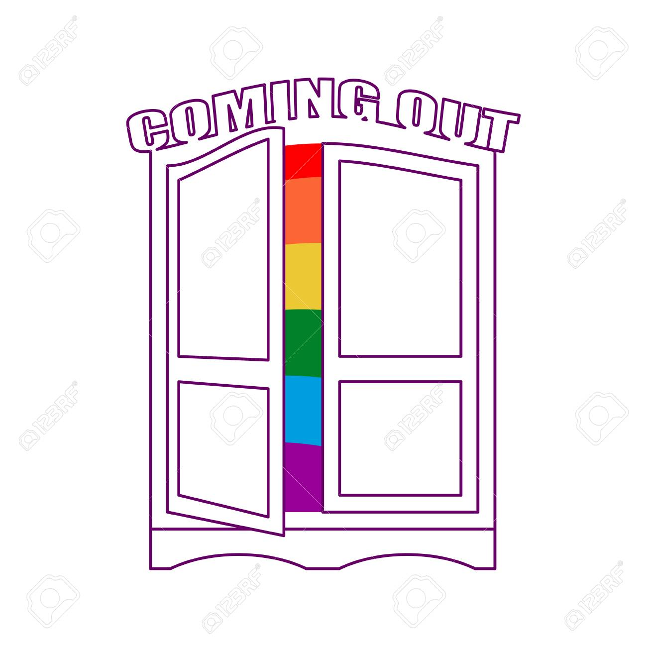 Coming out Wardrobe LGBT symbol. Open closet door. Get out of wardrobe gay.