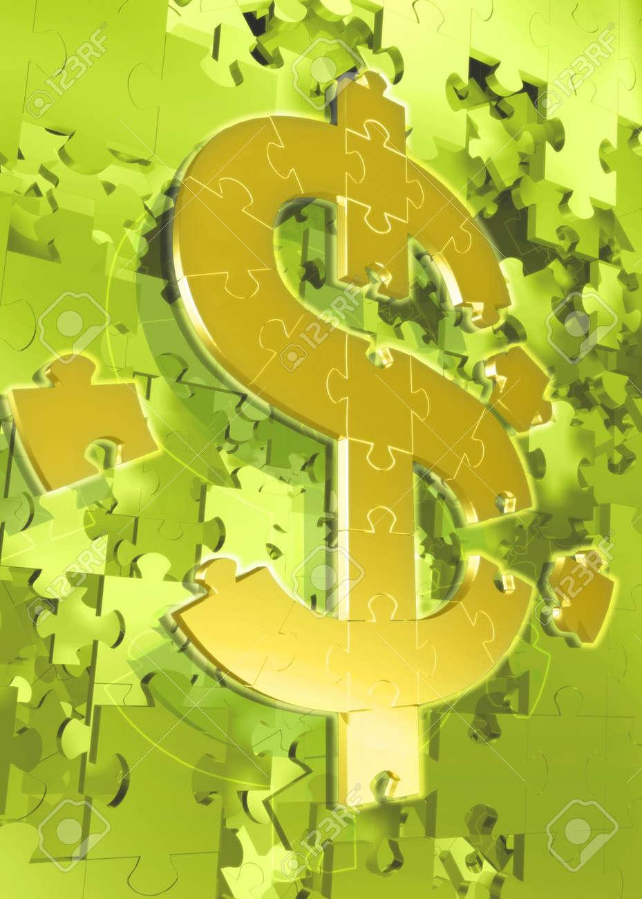 Dollar Symbol Puzzle 3D Stock Photo - 820886