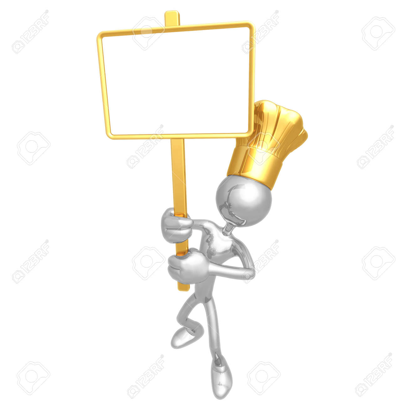 Chef With Picket Sign Stock Photo - 4400927