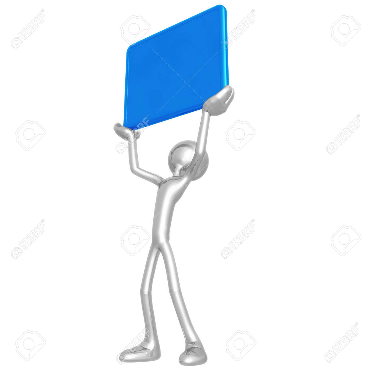 Holding Up A Blank Sign Stock Photo - 4411885