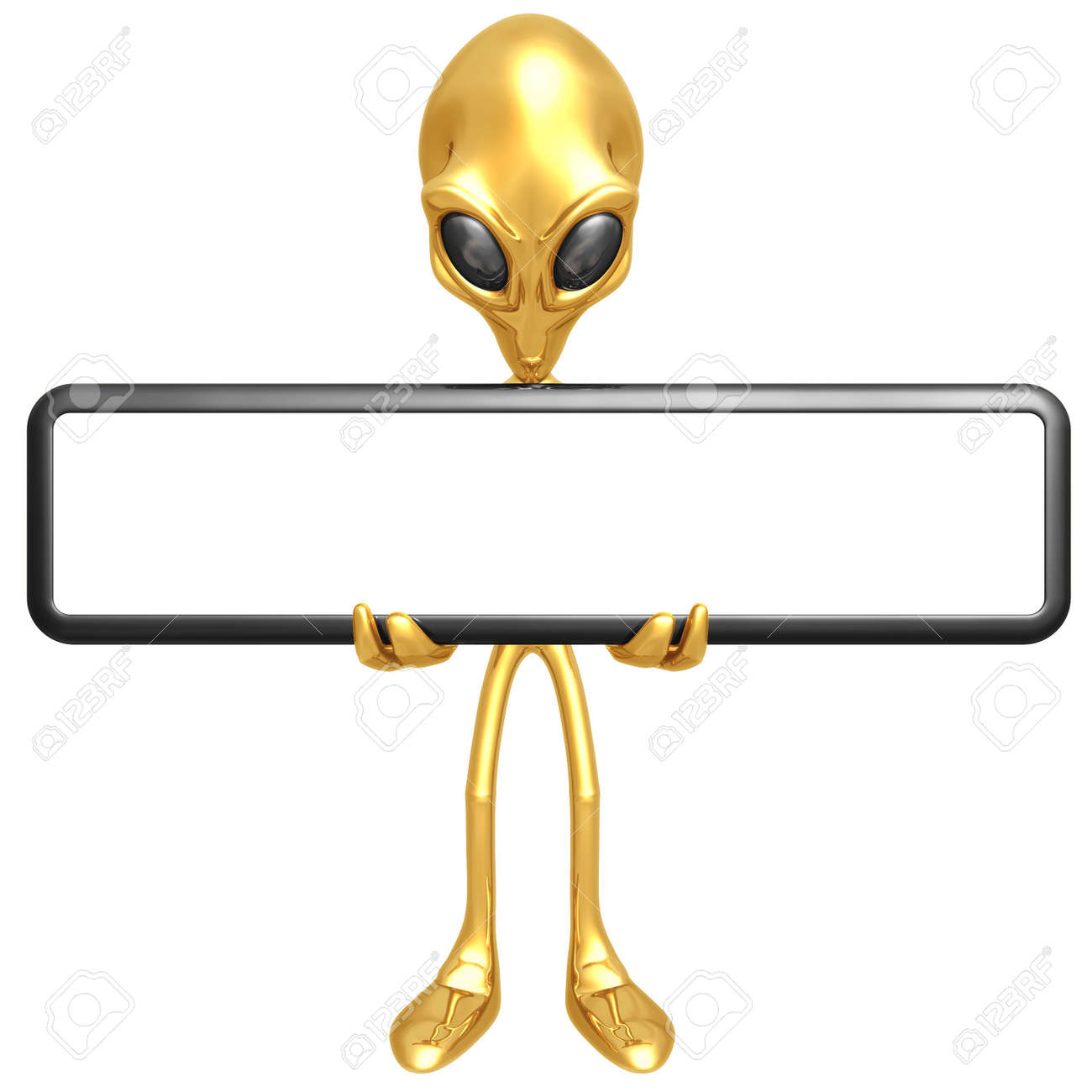 Alien With Blank Sign Stock Photo - 4688166