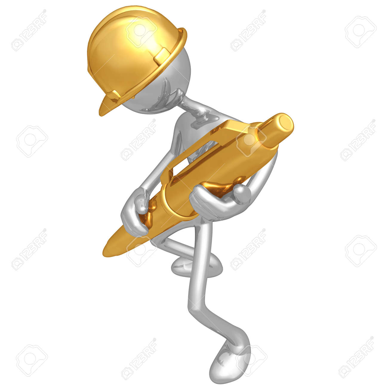 Construction Worker With Gold Pen Stock Photo - 4750504