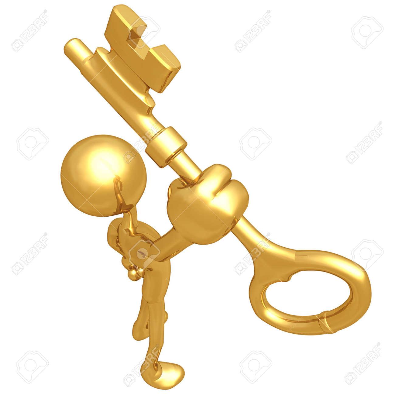 Holding The Golden Key Stock Photo - 4759203