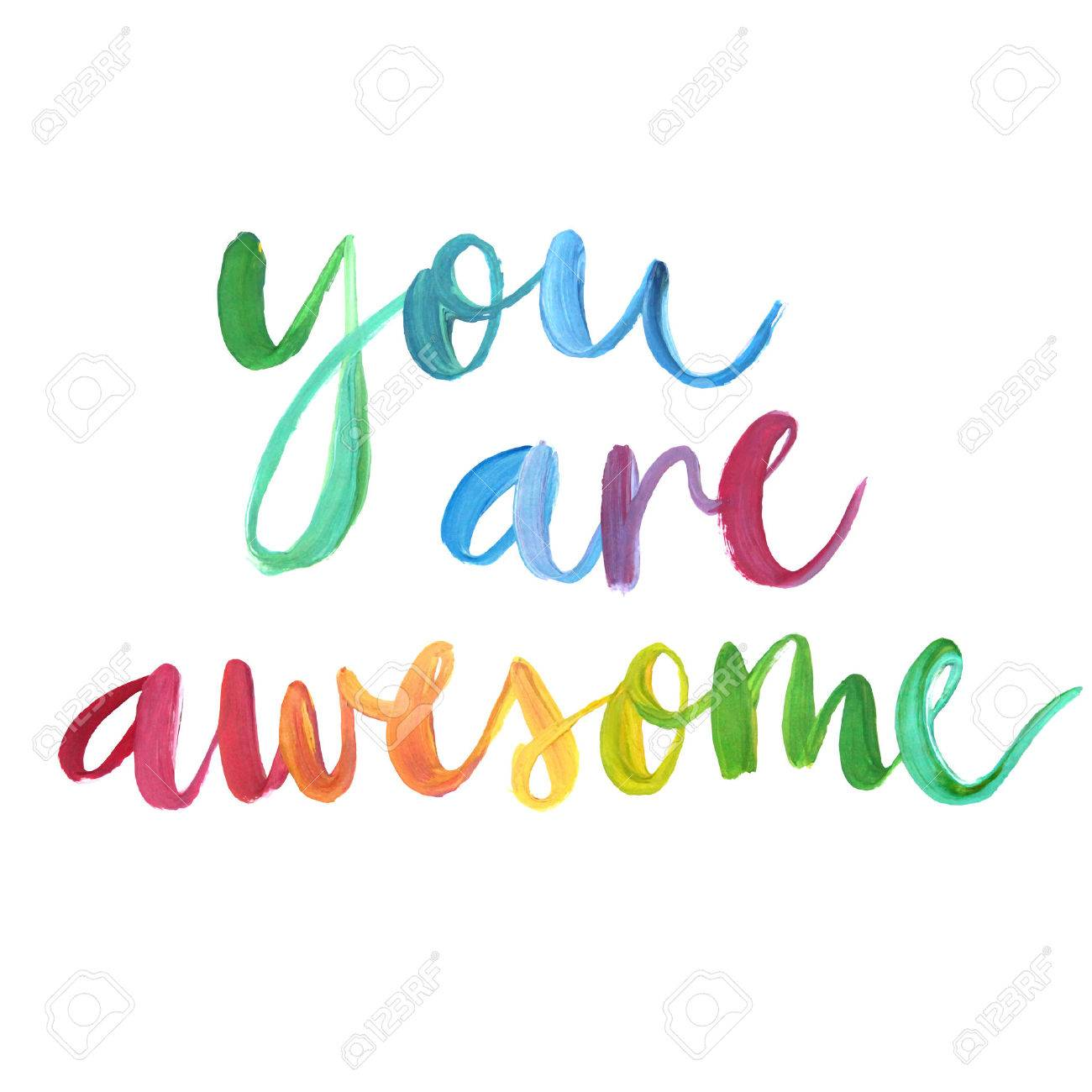 you are awesome calligraphic poster vector illustration royalty rh 123rf com thank you you are awesome clip art
