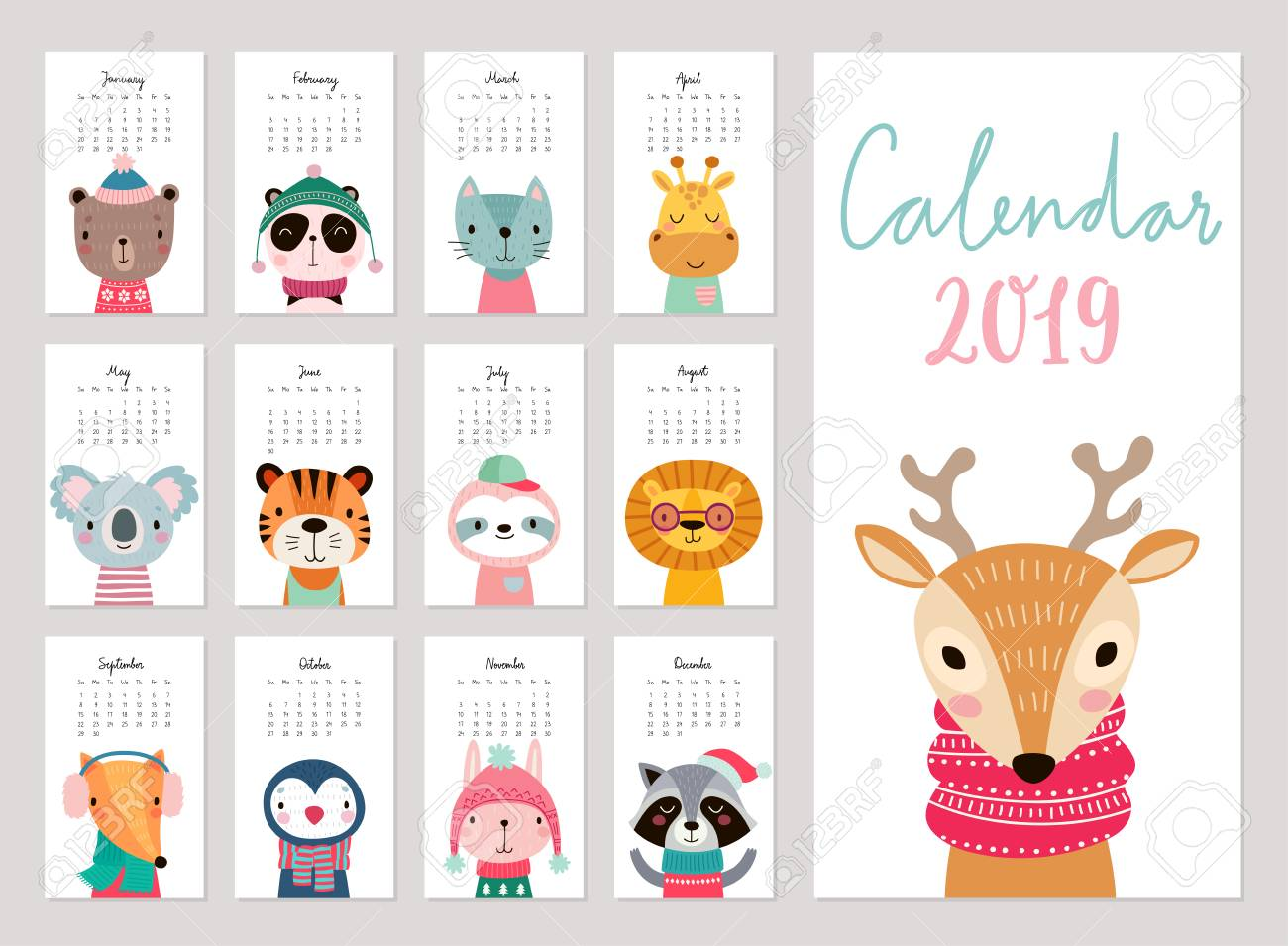 Animal 2019 Calendar Calendar 2019. Cute Monthly Calendar With Animals. Hand Drawn