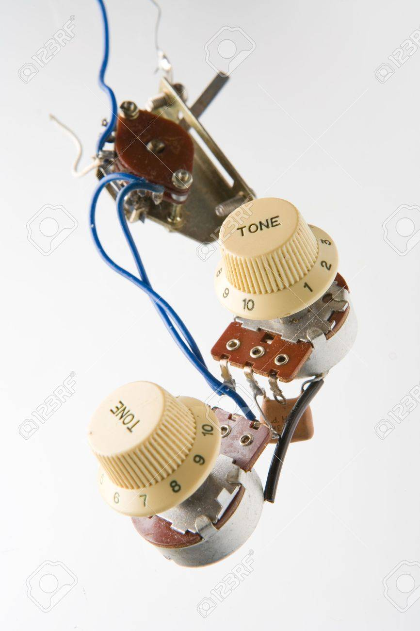 Electronic Parts From Vintage Electric Guitar Stock Photo, Picture ...